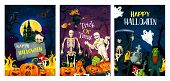 Halloween Holiday Horror Night Party Invitation Banner. Spooky Witch, Bat And Ghost, Skeleton, Pumpk poster