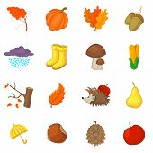 Autumn Items Icons Set. Cartoon Illustration Of 16 Autumn Items Icons For Web poster