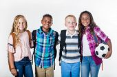 Group portrait of pre-adolescent school kids smiling on a white background. Back to school photo of  poster