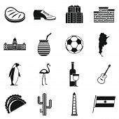 Argentina Travel Items Icons Set. Simple Illustration Of 16 Argentina Travel Items Icons For Web poster