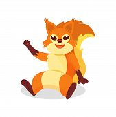 Friendly Red Squirrel Sitting On The Ground And Waving Paw. Forest Rodent With Bushy Tail And Tassel poster