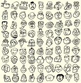 People faces, doodle cartoon expressions and emotions, avatar icons