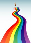 Rainbow line with  paint roller. Vector illustration.