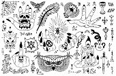 Tattoo Design Set With Gothic Icons And Mystic Symbols On White. Esoteric, Occult And Halloween Conc poster