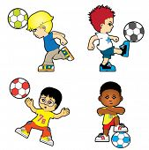 Four boys playing football
