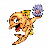 happy fish found pearls
