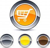 Botones de web ronda brillante de carro de compras.