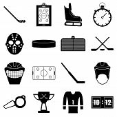 Hockey Items Icons Set. Simple Illustration Of 16 Hockey Items Icons For Web poster