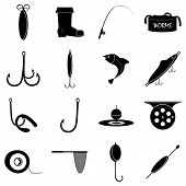 Fishing Tools Items Set. Simple Illustration Of 16 Fishing Tools Items Icons For Web poster