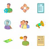 Career Icons Set. Cartoon Illustration Of 9 Career Icons For Web poster