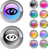 Olho multicolor brilhante redondo web buttons.