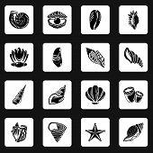 Tropical Sea Shell Icons Set. Simple Illustration Of 16 Tropical Sea Shell Icons For Web poster