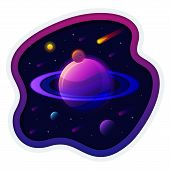 Saturn Planet Solar System With Stars. Futuristic Space Background. Abstract Universe With Big Ultra poster
