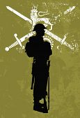 Silhouette of a British soldier wearing full military uniform