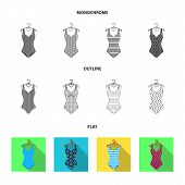 Different Kinds Of Swimsuits. Swimsuits Set Collection Icons In Flat, Outline, Monochrome Style Vect poster