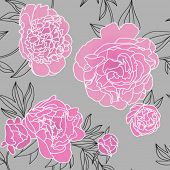 Seamless vector pattern with peonies