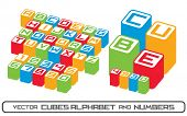Cubes alphabet letters and numbers