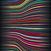 Wavy color stripes on black background. Vector Illustration