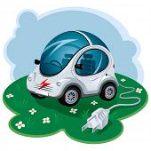 Green Energy Car. Vector Illustration