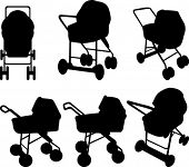 Baby strollers silhouettes