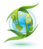 icon of Green Eco-people rotating around Earth