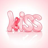Vector illustration of the Word Kiss with lush lips