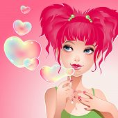 Vector illustration of the girl with a heart-shaped hair.