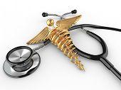 Estetoscópio com o símbolo da medicina, caduceu. 3D