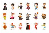 Ute Little Kids In Colorful Halloween Costumes Set, Halloween Children Trick Or Treating Vector Illu poster