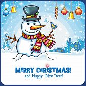 Christmas Snowman card. Cute snowball standing outside, in winter town with little singing bird. Hol