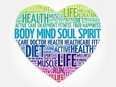 Body Mind Soul Spirit Heart Word Cloud, Fitness, Sport, Health Concept poster