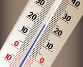 The thermometer shows temperature in living
