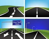 Vector illustration of four asphalt roads