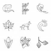 Weather Climate Icons Set. Outline Set Of 9 Weather Climate Icons For Web Isolated On White Backgrou poster