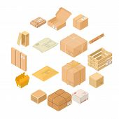 Parcel Packaging Box Icons Set. Isometric Illustration Of 16 Parcel Packaging Box Icons For Web poster