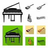 Musical Instrument Monochrome, Flat Icons In Set Collection For Design. String And Wind Instrument I poster