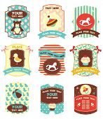 stock photo of cake-ball  - Baby labels with place for your text - JPG