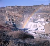 Idaho Shoshone Falls with Rainbow in Winter