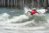 HUNTINGTON BEACH, CA - AUGUST 2: Jay Thompson competes in the Nike US Open of Surfing in Huntington Beach, CA on August 2, 2012