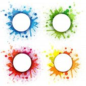 4 Abstract Bubble With Blobs Set, Isolated On White Background, Vector Illustration