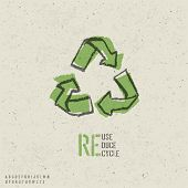 Reuse, reduce, recycle poster design.  Include reuse symbol image, seamless reuse paper texture in s