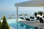 Swimming Pool And Outdoor Restaurant At The Modern Luxury Hotel, Pieria, Greece