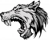 stock photo of growl  - Cartoon Vector Mascot Image of a Growling Grey Wolf Head - JPG