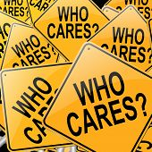picture of forlorn  - Illustration depicting many roadsigns with a who cares concept - JPG