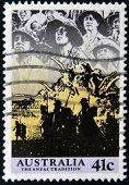 A stamp printed in Australia shows image of the anzac tradition