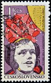 A stamp printed in Czechoslovakia shows Neil Armstrong first moon walk 1969