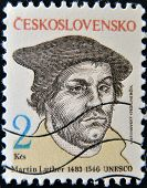 CZECHOSLOVAKIA - CIRCA 1983: A stamp printed in Czechoslovakia shows Martin Luther circa 1983