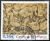 A stamp printed in France shows prehistoric paintings in the Grotte de Rouffignac