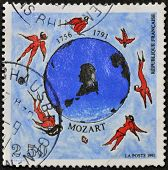A stamp printed in France dedicated to Mozart