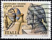 A stamp printed in Italy dedicated to centenary of Dante Alighieri Society